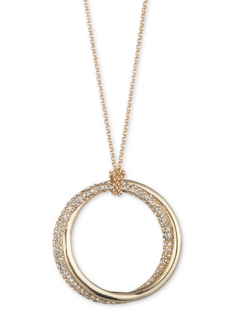 Gold Tone Pave Crystal Knot Pendant Necklace