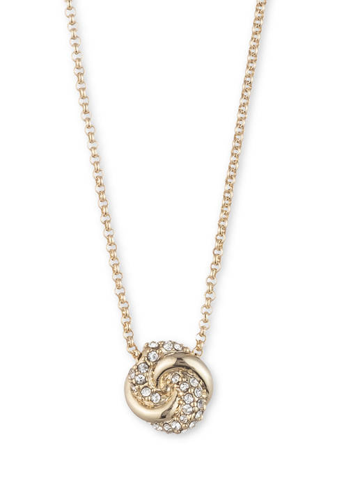 Gold Tone Carded Pave Knot Pendant Necklace