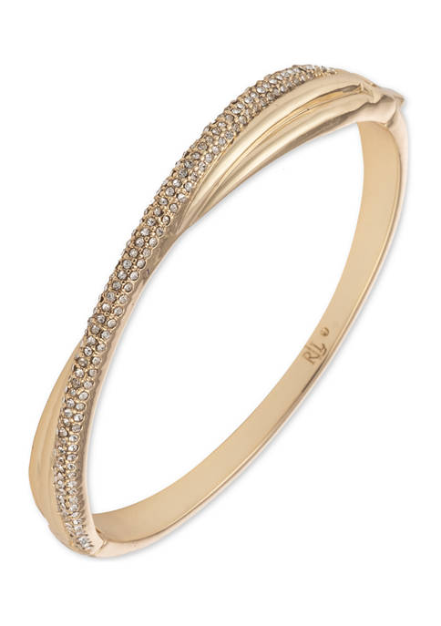 Lauren Ralph Lauren Gold Tone Twisted Pave Crystal