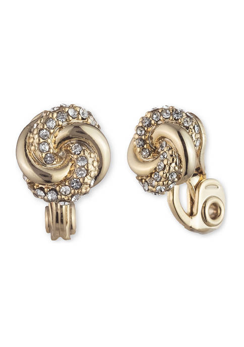 Gold Tone Small Pave Crystal Knot Button Clip Earrings