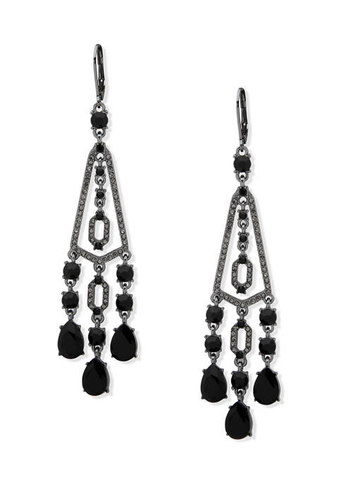 Hematite Tone Jet Stone Chandelier Earrings