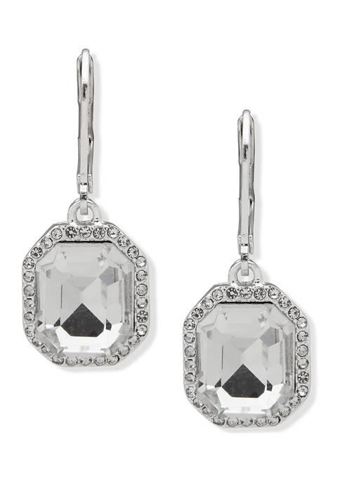 Silver Tone Stone Drop Crystal Earrings