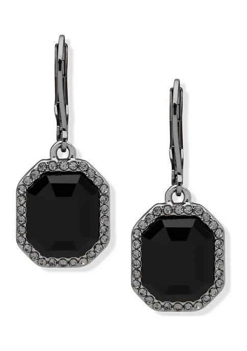 Hematite Tone Jet Stone Drop Earrings