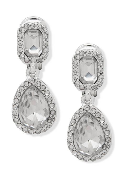 Lauren Ralph Lauren Silver Tone Crystal Stone Clip