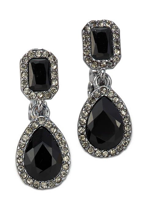 Hematite Tone Jet Black Stone Drop Clip Earrings