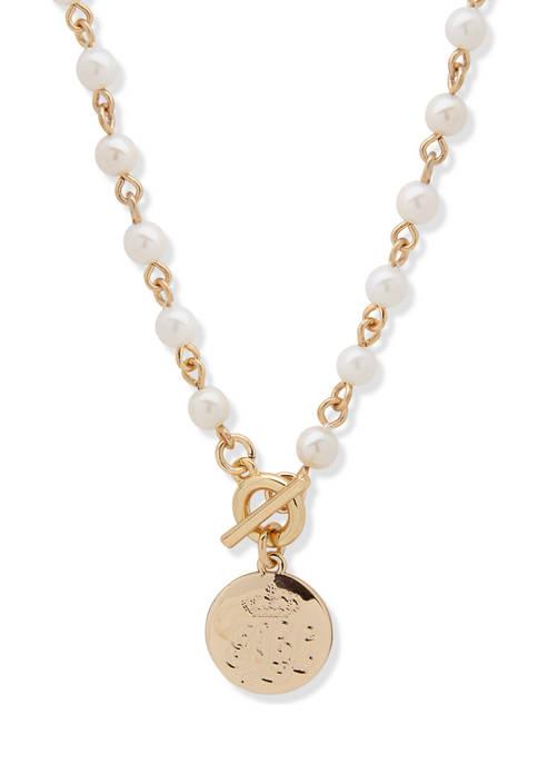 Gold Tone White Pearl Logo Toggle Pendant Necklace