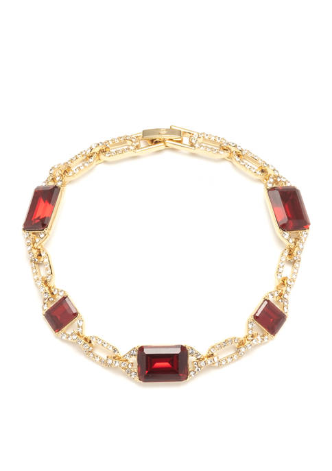 Lauren Ralph Lauren Gold Tone Red Stone Crystal