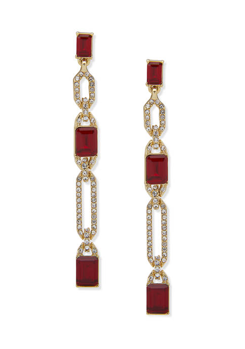 Lauren Ralph Lauren Gold Tone Long Red Crystal