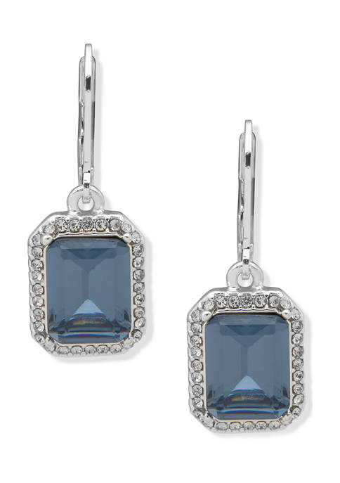 Silver Tone Blue Stone and Crystal Drop Earrings