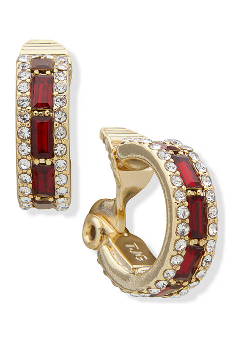 Gold Tone Small Stone Red Crystal Hoop Earrings