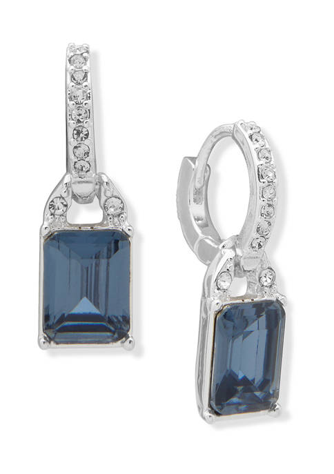 Silver Tone Blue Stone and Crystal Huggie Hoop with Drop Earrings