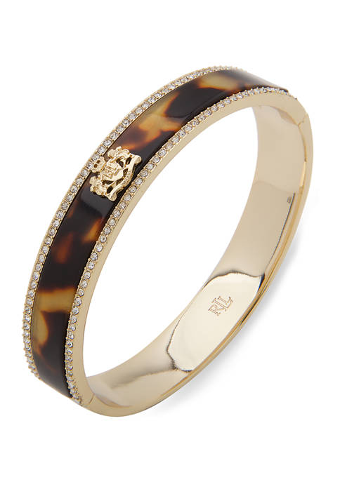 Lauren Ralph Lauren Gold Tone Crest Tortoise Crystal