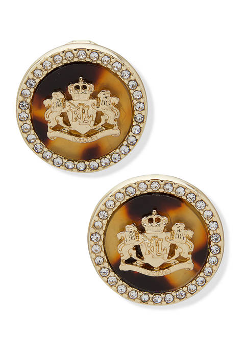 Gold Tone Crest Button Tortoise Crystal Earrings