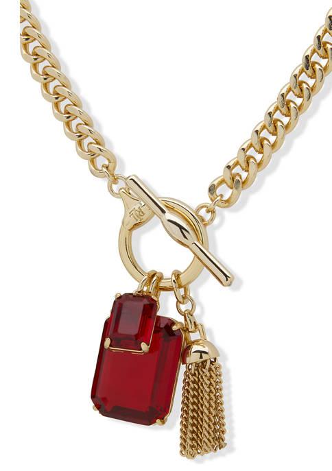 Lauren Ralph Lauren Gold Tone Stone Toggle Charm