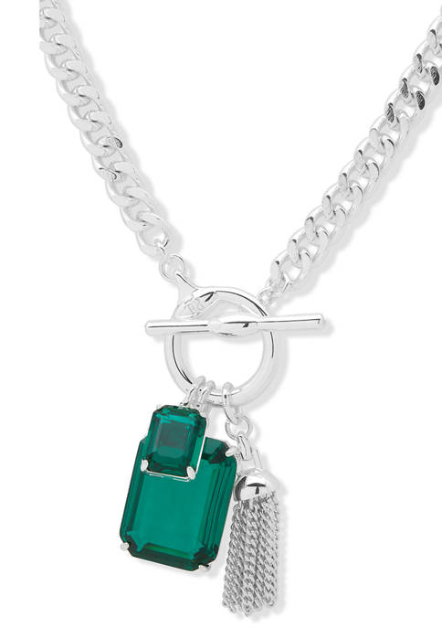 Silver Tone Green Stone Toggle Charm Pendant Necklace
