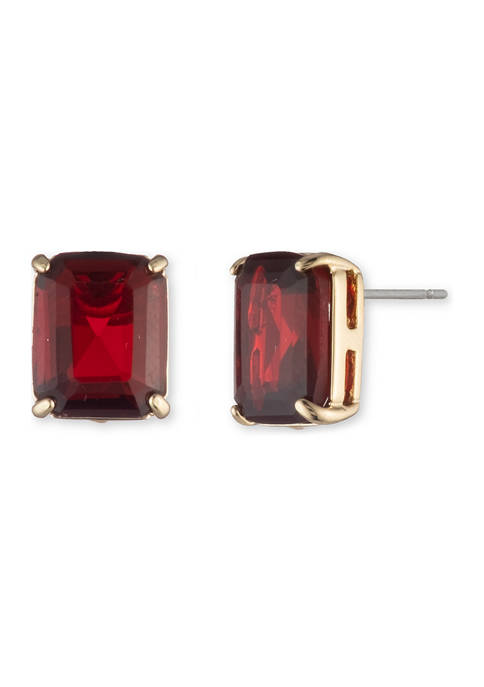 Gold Tone Siam Stone Stud Earrings