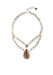 Gold-Plated Classic Petrified Wood Teardrop Statement Necklace