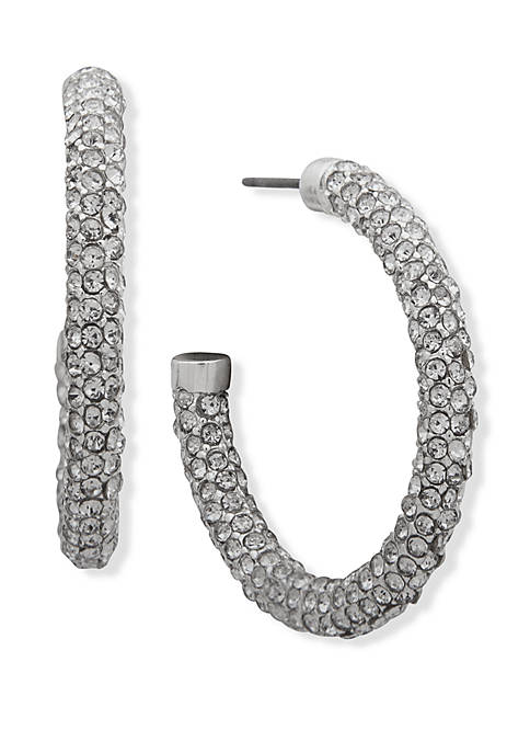Crystal Medium Pave Hoop Earrings