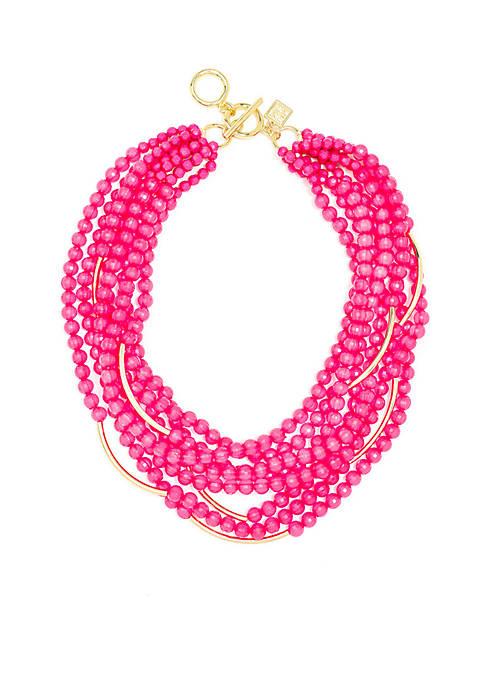 Gold- Tone Multi-strand Beaded Necklace