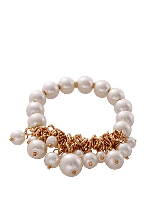 CATHERINE STEIN DESIGNS Beaded Glass Pearl Bracelet