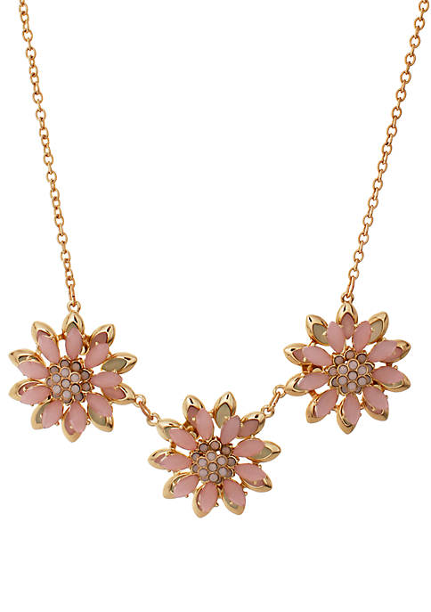 Gold Tone Flower Statement Necklace