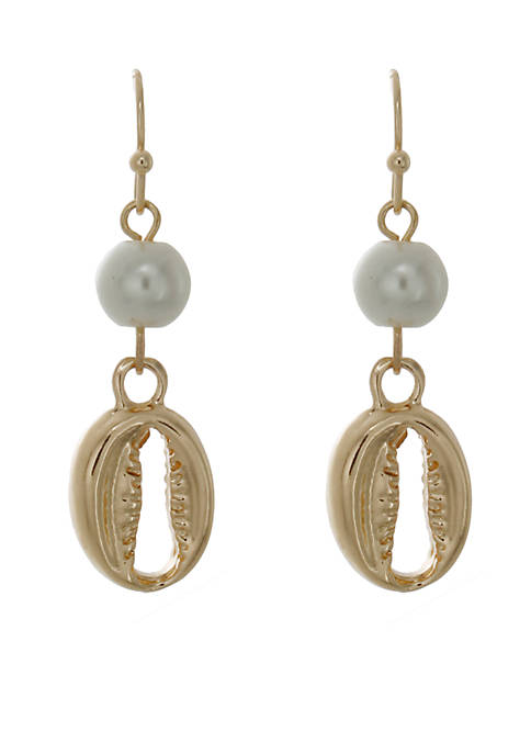 Crown & Ivy™ Gold-Tone Sea Shell Pearl Drop