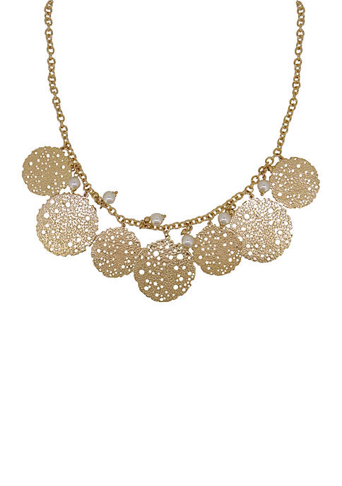 Crown & Ivy™ Gold-Tone Filigree And Pearl Statement