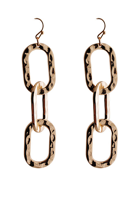 CATHERINE STEIN DESIGNS Gold Tone Hammered Link Drop