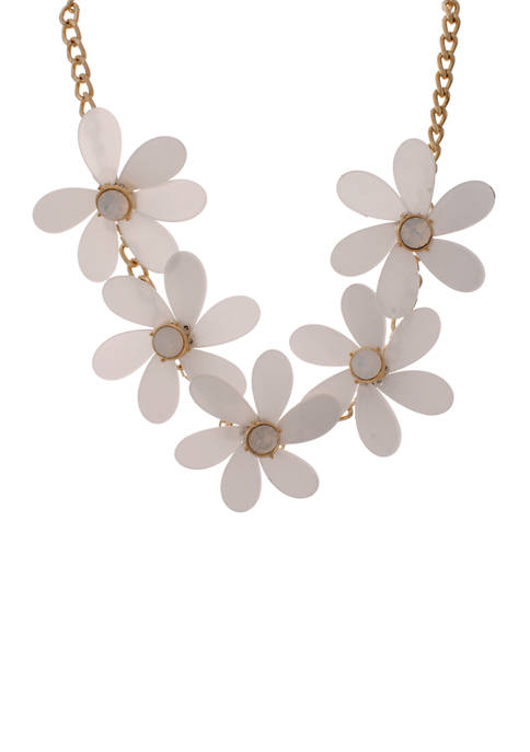 Tortoise Floral Statement Necklace