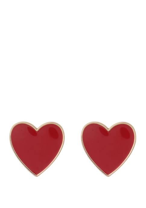 Crown & Ivy™ Gold Tone Heart Stud Earrings