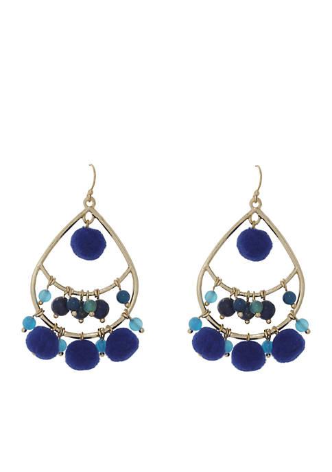 Crown & Ivy™ Gold-Tone Royal Blue Hoop Pompom