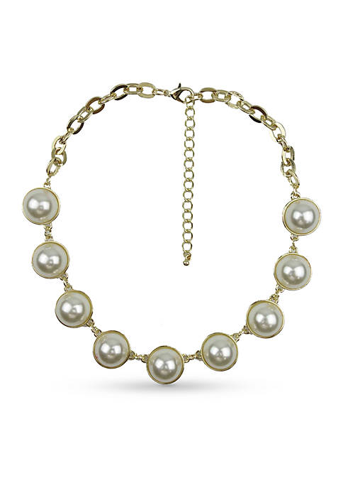 Crown & Ivy™ Gold-Tone Pearl Chain Necklace