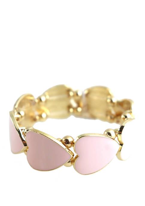 Crown & Ivy™ Pink Heart Stretch Bracelet