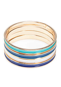 Gold-Tone Preppy Picnic Multi Color Bangle Braclets