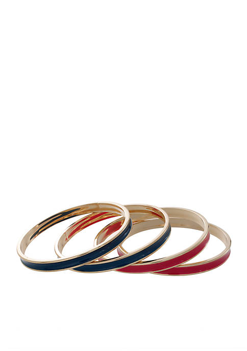 Crown & Ivy™ 4-Piece Multi Gold-Tone Bangle Set