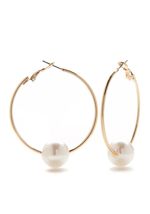 Crown & Ivy™ Gold-Tone Preppy Picnic Pearl Hoop