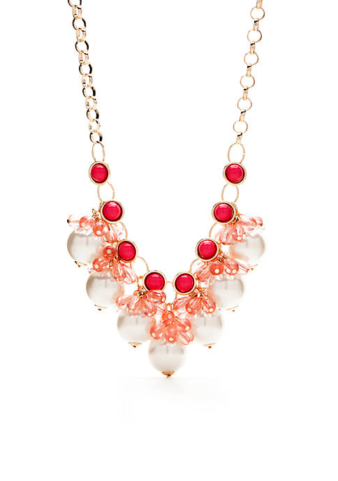 Gold-Tone Pink and Pearl Necklace