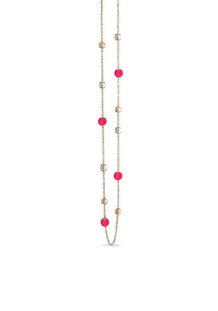 Crown Ivy Gold Tone Pearl Pink Beaded Necklace