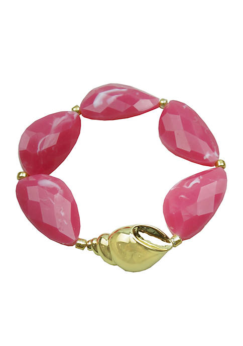 Crown & Ivy™ Gold-Tone Acrylic Shell Stretch Bracelet