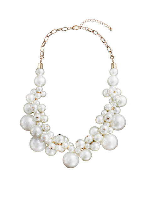 Crown & Ivy™ Pearl Cluster Necklace