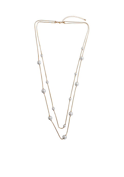 Crown & Ivy™ 32 Pearl Station Necklace