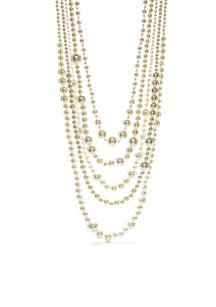 Gold-Tone Layer Bead Pearl Necklace