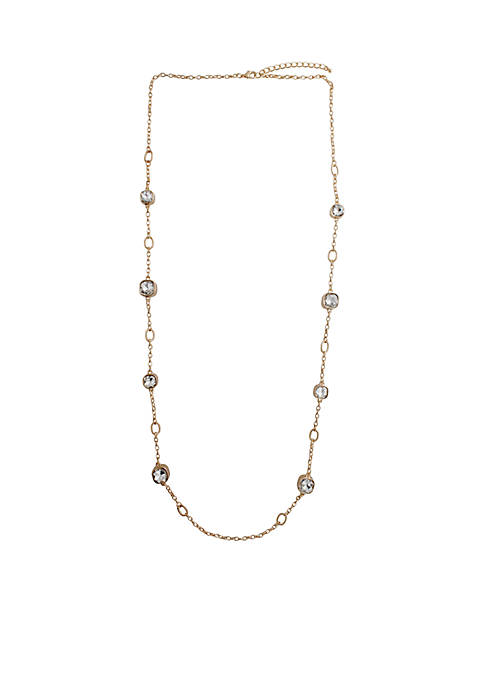 Crown & Ivy™ Gold-Tone Crystal Station Necklace