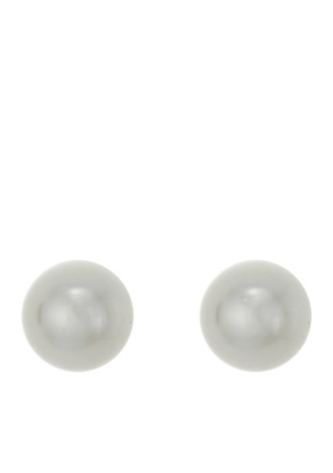 Crown & Ivy™ Gold-Tone 12mm Pearl Stud Earrings