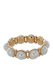 Gold-Tone Pearl Stretch Bracelet
