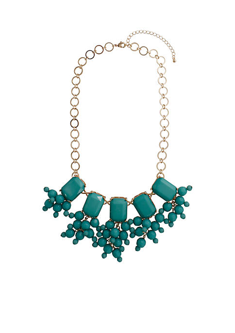 Crown & Ivy™ Gold-Tone Jade Faceted Necklace