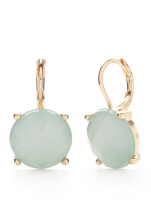 Crown & Ivy™ Gold-Tone Mint Drop Earrings