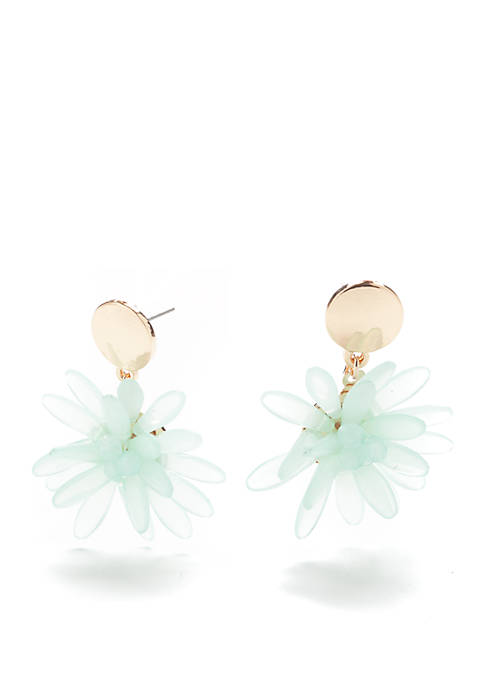 Crown & Ivy™ Gold-Tone Beaded Flower Earrings