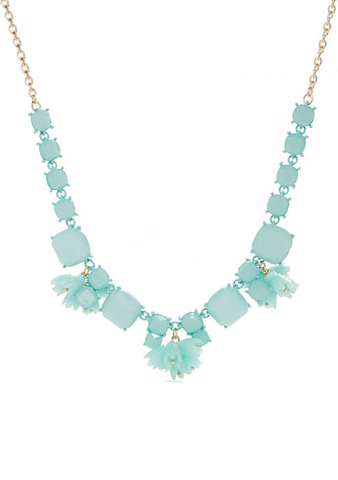 Crown & Ivy™ Stone Statement Mint Necklace