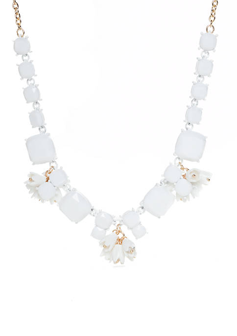 Crown & Ivy™ White Stone Statement Necklace